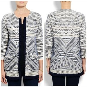 Lucky Brand Woven Open Cardigan with Fringe Hem